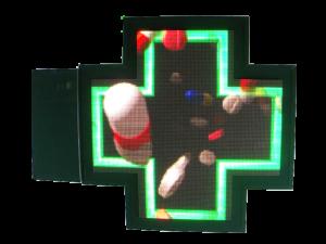 Croix multicolore fabriquée en France, structure alu thermolaqué, capteurs de luminosité et de température.